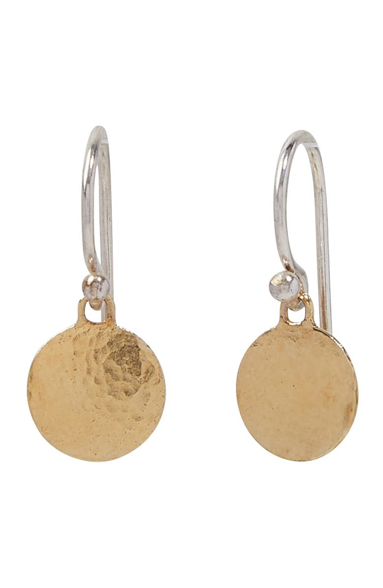 GURHAN 24K Yellow Gold Plated & Sterling Silver Hammered Disc Drop Earrings, Main, color, SILVER