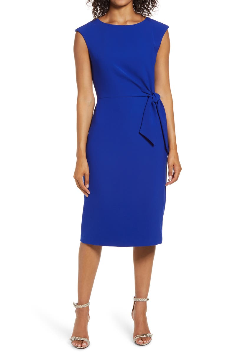 TAHARI Cap Sleeve Crepe Sheath Dress, Main, color, COBALT