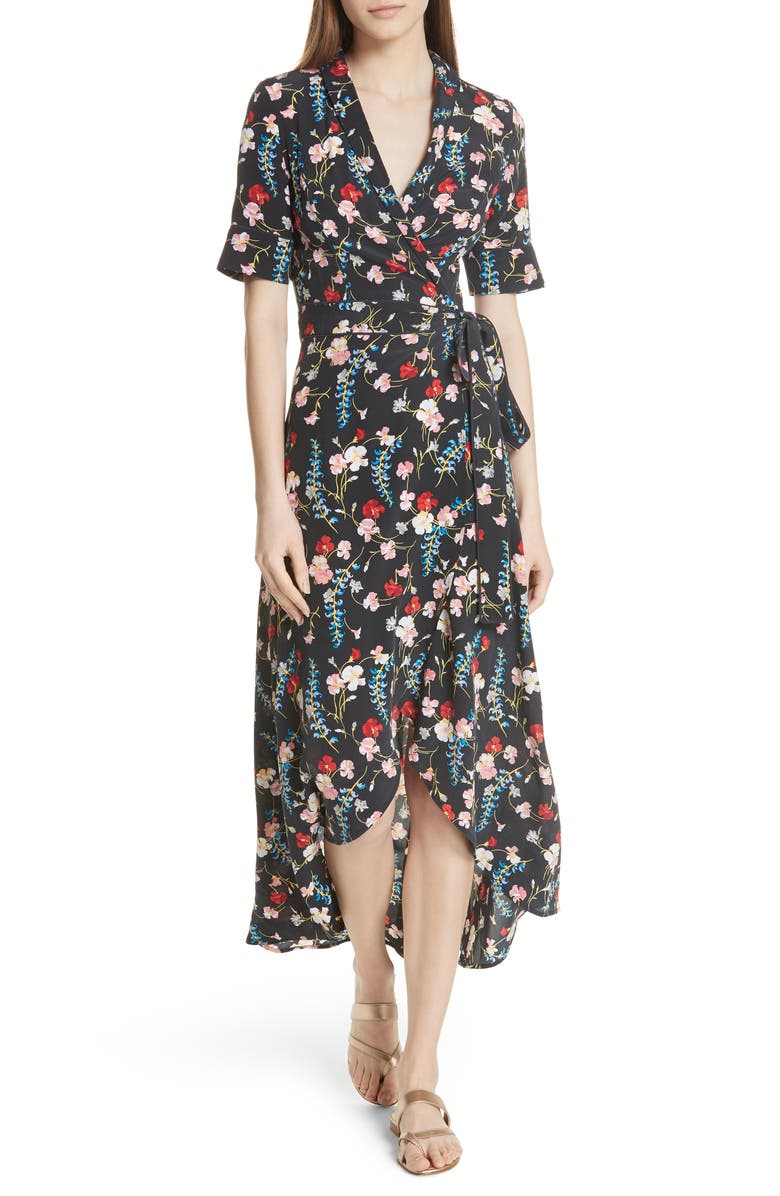 EQUIPMENT Imogene Floral Silk Wrap Dress, Main, color, 427