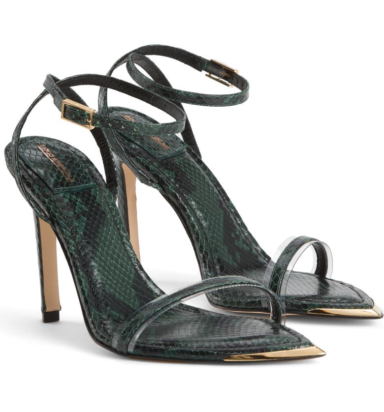 GOOD AMERICAN On Point Ankle Strap Sandal, Main, color, PYTHON PRINT/ GREEN LEATHER