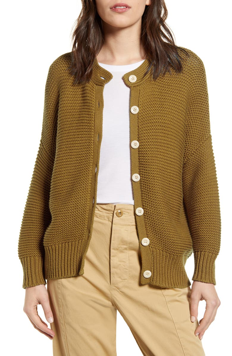 ALEX MILL Chunky Cotton Cardigan, Main, color, GOLDEN KHAKI