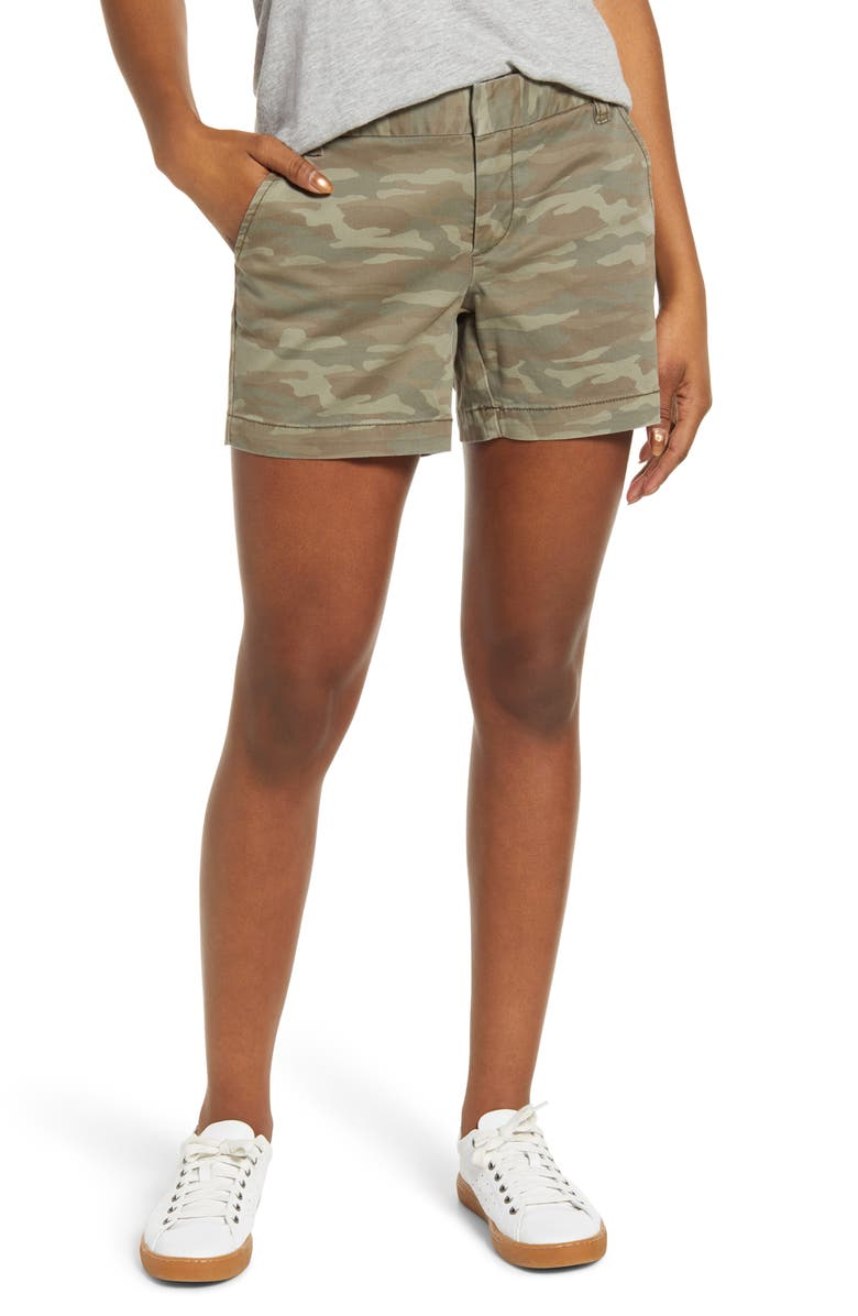 CASLON<SUP>®</SUP> Cotton Twill Shorts, Main, color, OLIVE FADED CAMO PRINT