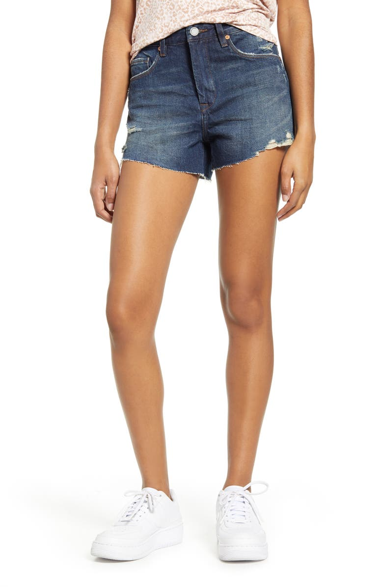 BLANKNYC The Barrow Distressed Denim Shorts, Main, color, 425