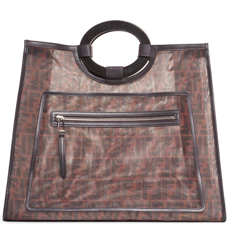 FENDI Large Runaway Printed Logo Mesh Shopper, Main, color, 001