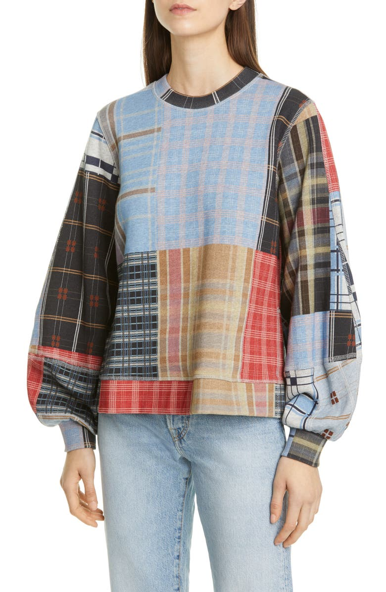 GANNI Isoli Patchwork Balloon Sleeve Sweatshirt, Main, color, 400