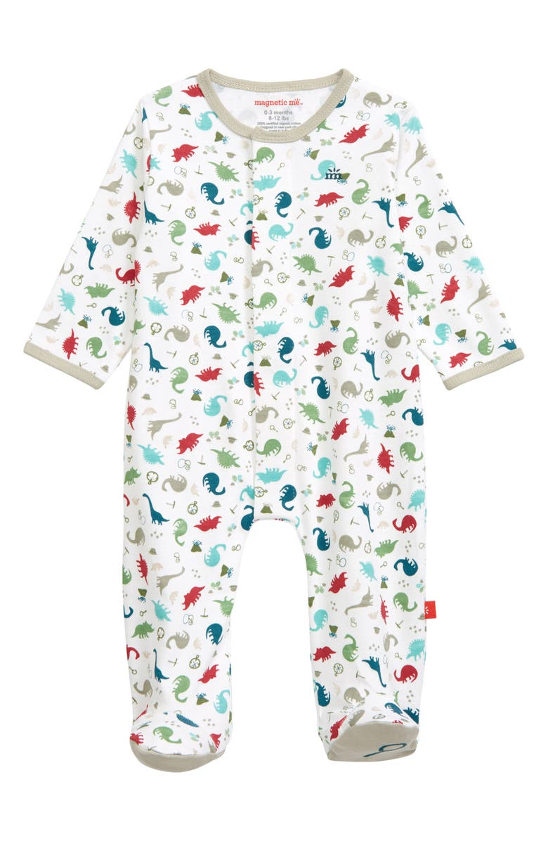 MAGNETIC ME Dino Expedition Organic Cotton Fitted One-Piece Pajamas, Main, color, Grey