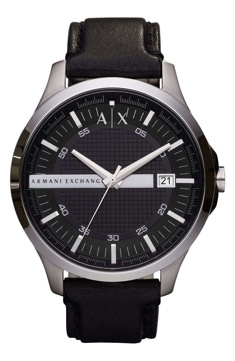 AX ARMANI EXCHANGE Leather Strap Watch, 46mm, Main, color, Black