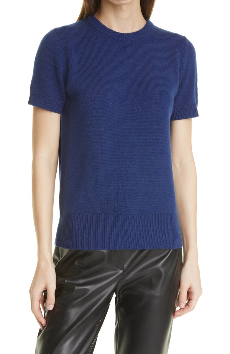 THEORY Women's Short Sleeve Cashmere Sweater, Main, color, NAVY SAPPHIRE/ HUSKY