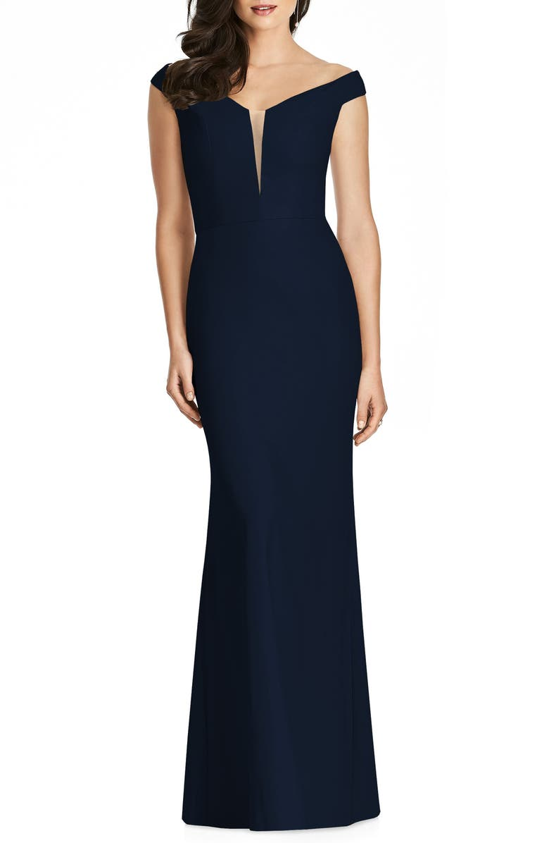 DESSY COLLECTION Off the Shoulder Crepe Trumpet Gown, Main, color, 405