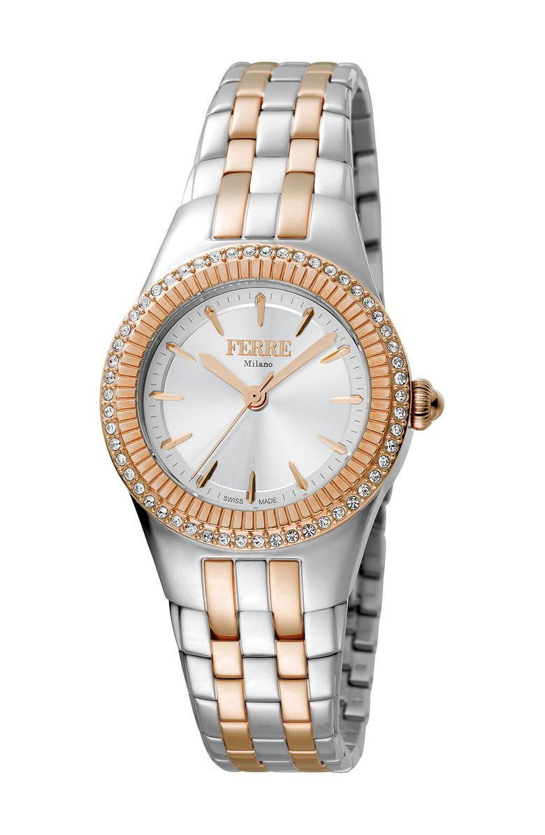 FERRE MILANO Women's Linea Trenta Two-Tone Stainless Steel Watch, 30mm, Main, color, TWO TONED SS/IPRG