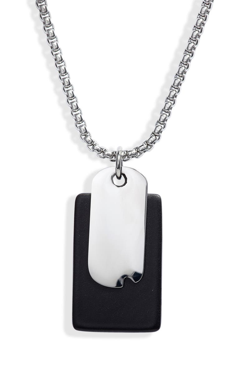 JONAS STUDIO Hudson Time and Place Sterling Silver Chain Necklace, Main, color, Black