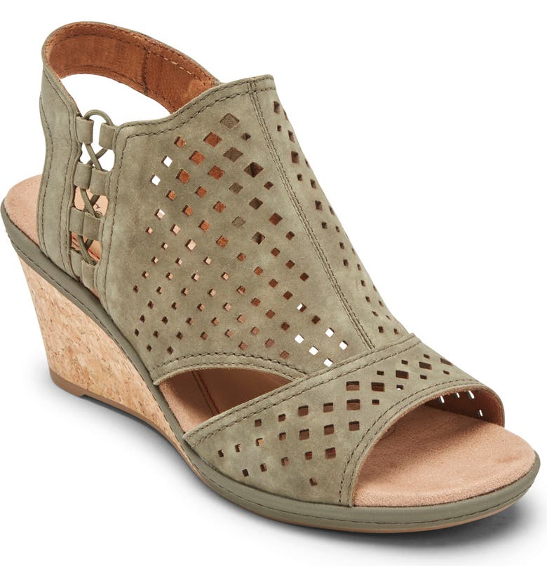 ROCKPORT Cob Hill Janna Wedge Sandal, Main, color, GREEN LEATHER