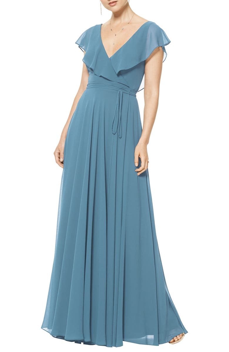 #LEVKOFF Ruffle V-Neck Wrap Gown, Main, color, SLATE