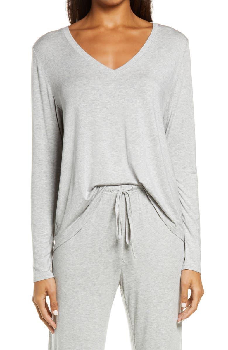 NORDSTROM Moonlight Dreamy V-Neck Pajama Top, Main, color, GREY HEATHER