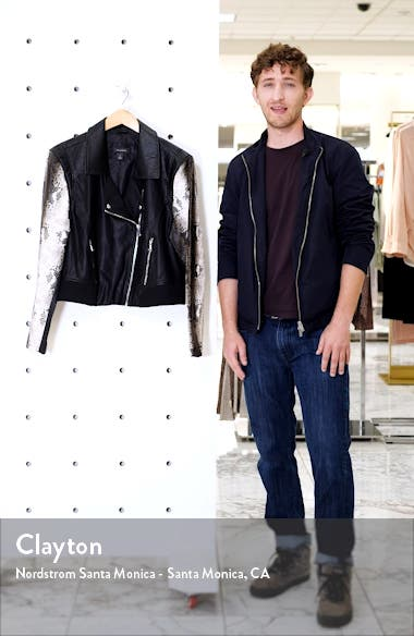 Contrast Sleeve Faux Leather Moto Jacket, sales video thumbnail