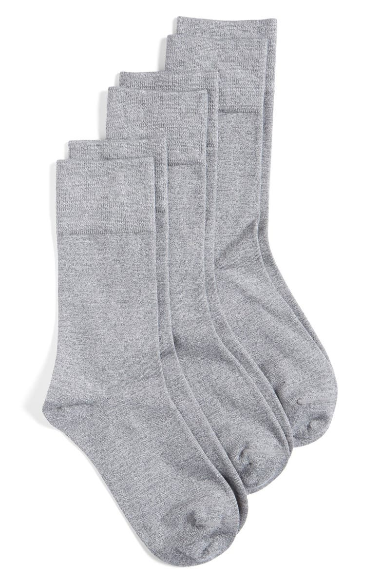 NORDSTROM Crew Socks, Main, color, GREY PEARL HEATHER