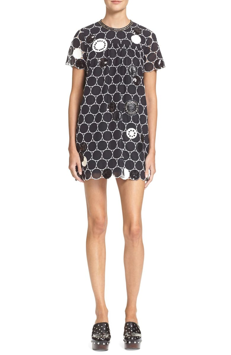 MARC BY MARC JACOBS Embellished Broderie Anglaise Shift Dress, Main, color, BLACK MULTI