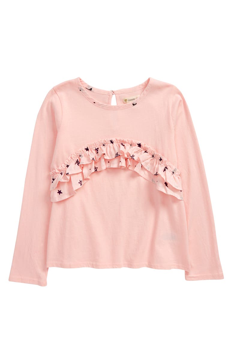 TUCKER + TATE Kids' Double Ruffle Top, Main, color, PINK ENGLISH DOODLE STARS