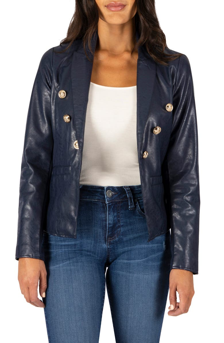 KUT FROM THE KLOTH Ciana Faux Leather Blazer, Main, color, 416