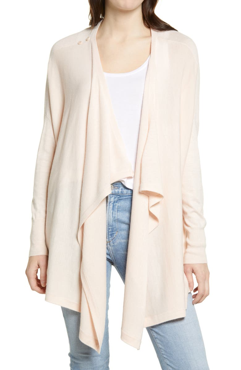 NORDSTROM Drape Front Cardigan, Main, color, PINK PEONY BUD