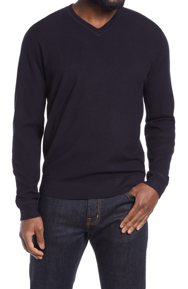 NORDSTROM Thermolite<sup>®</sup> V-Neck Sweater, Main, color, NAVY PEACOAT