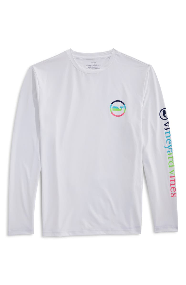 VINEYARD VINES Neon Whale Dot Harbor Long Sleeve Performance Graphic Tee, Main, color, WHITE CAP