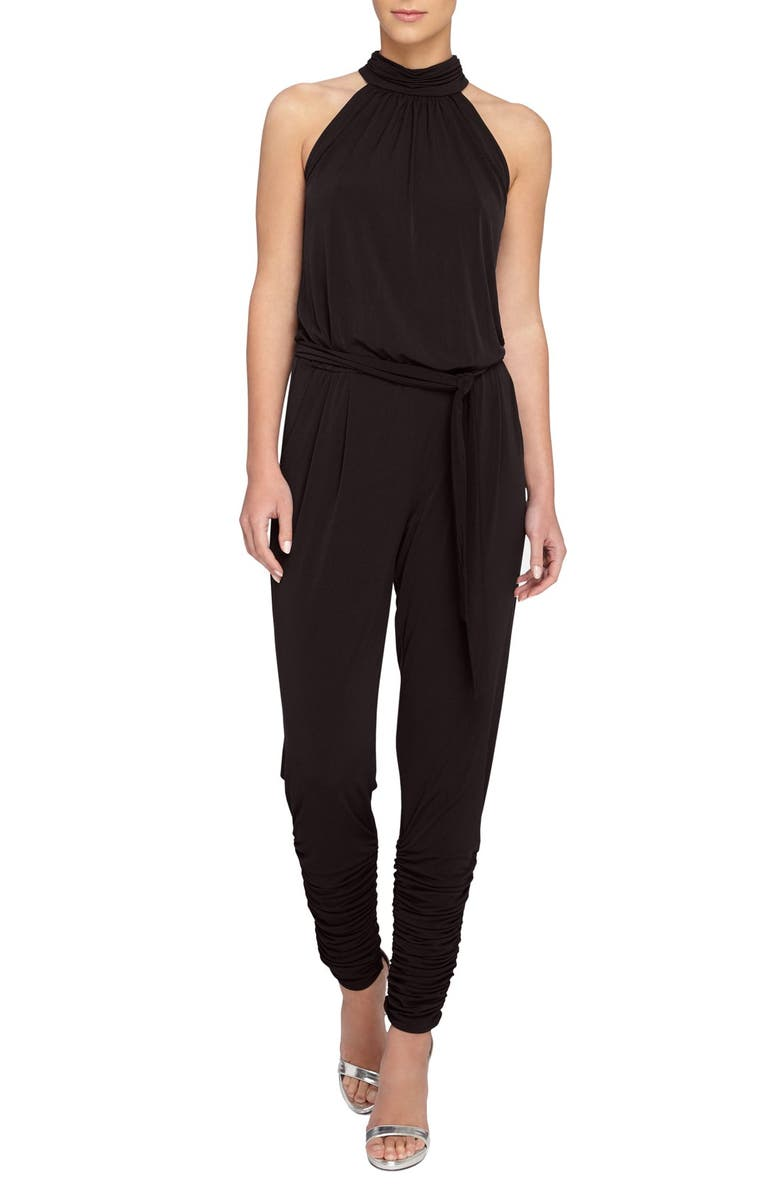 CATHERINE CATHERINE MALANDRINO 'Edie' Ruched Leg Jumpsuit, Main, color, 001