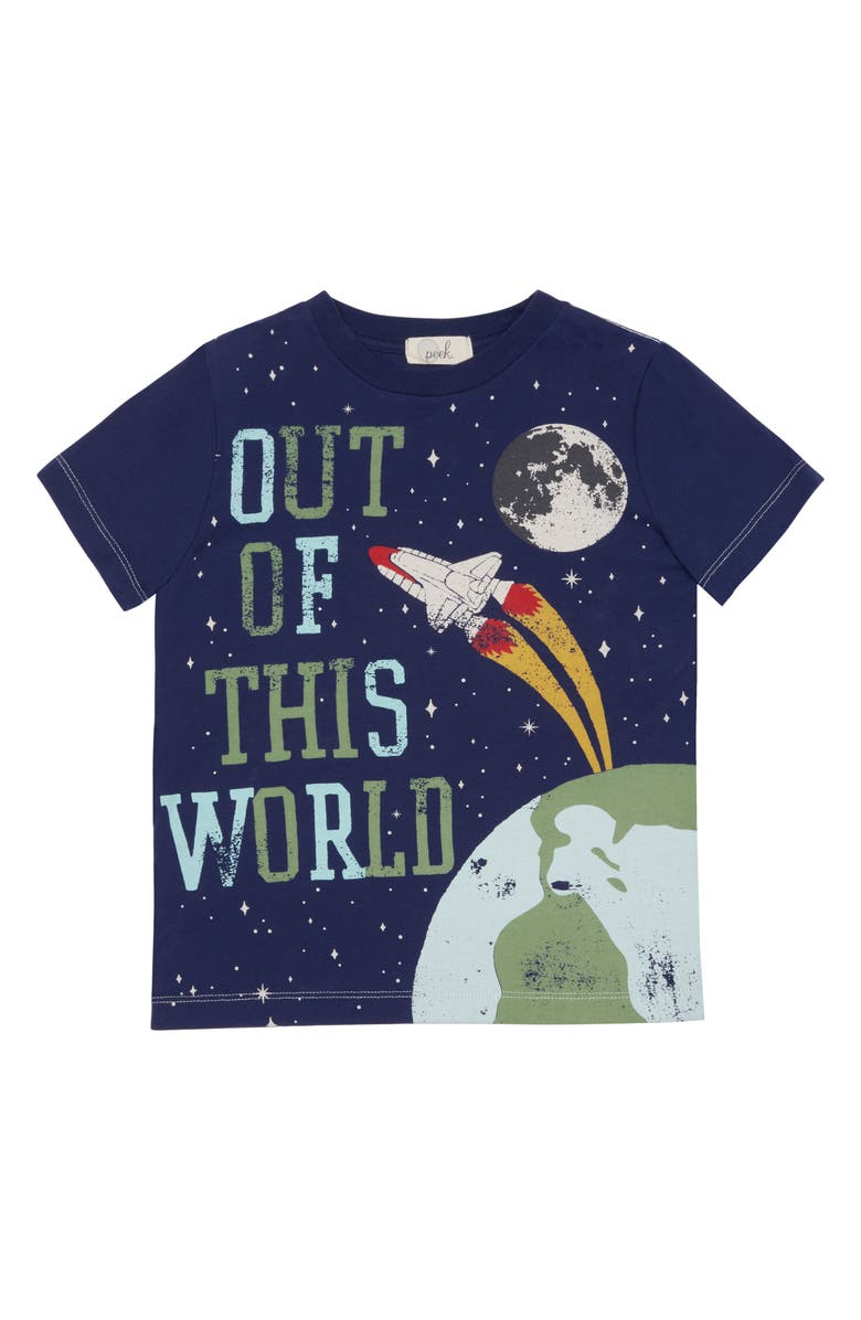 PEEK ARENT YOU CURIOUS WYATT OUT OF THIS WORLD TEE, Main, color, DARK TEAL