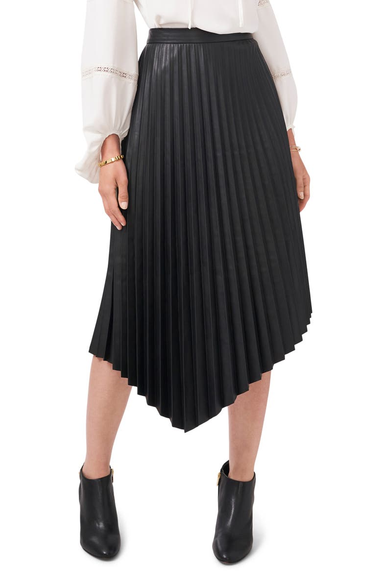 VINCE CAMUTO Pleated Asymmetric Faux Leather Skirt, Main, color, RICH BLACK