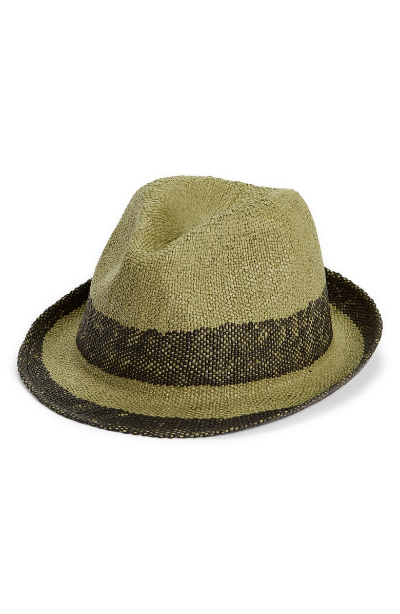 NORDSTROM Straw Trilby, Main, color, SAGE COMBO