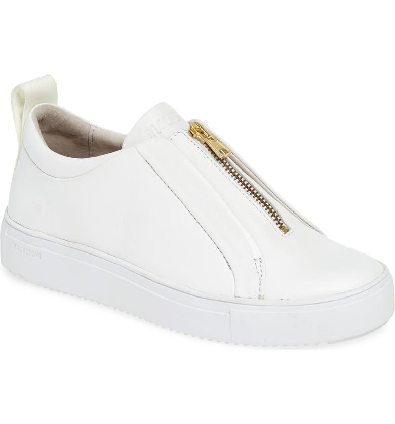 BLACKSTONE RL62 Zip Front Sneaker, Main, color, WHITE LEATHER