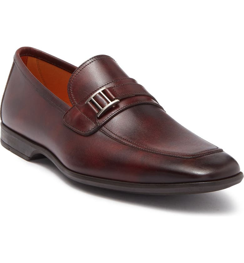 MAGNANNI Caddy Metal Bit Leather Loafer, Main, color, MIDBROWN