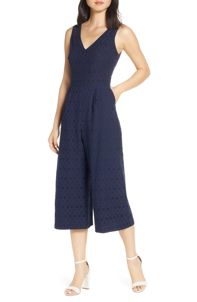 VINCE CAMUTO Cotton Eyelet Sleeveless Crop Wide Leg Jumpsuit, Main, color, NAVY