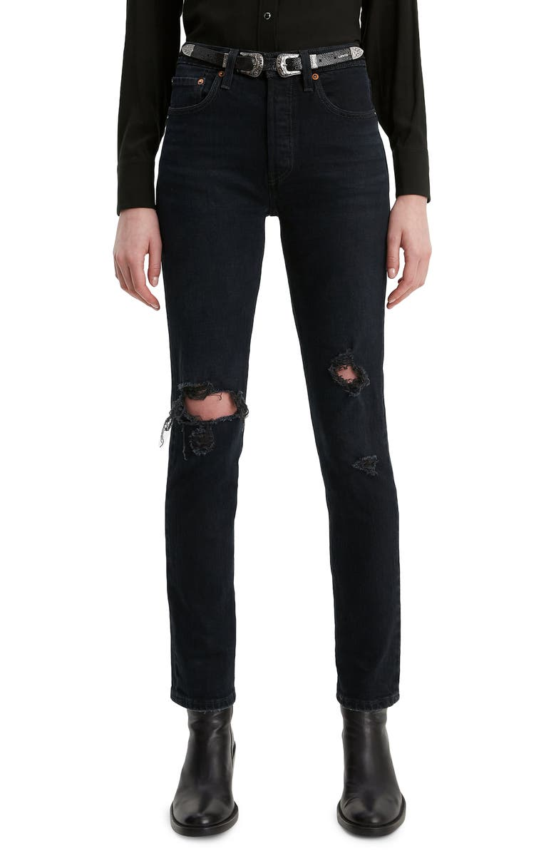 LEVI'S<SUP>®</SUP> 501<sup>®</sup> Ripped High Waist Ankle Skinny Jeans, Main, color, 004