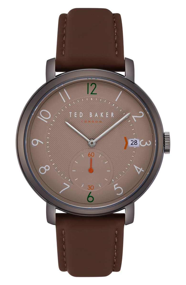 TED BAKER LONDON Oscar Leather Strap Watch, 43mm, Main, color, 201