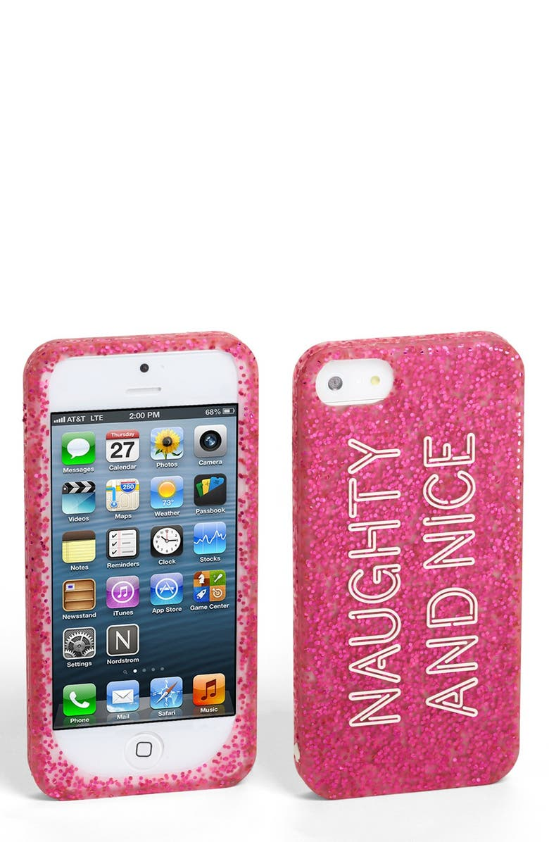 KATE SPADE NEW YORK 'naughty and nice' iPhone 5 & 5s case, Main, color, Pink Glitter