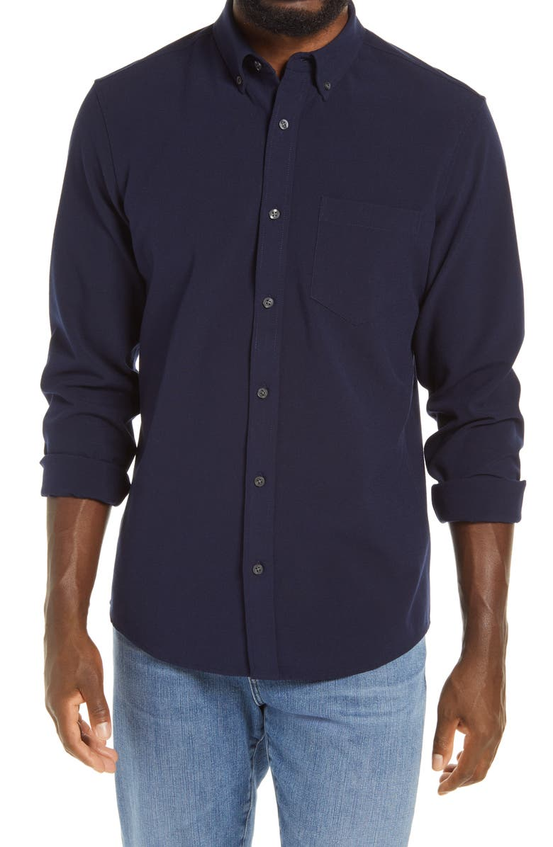 NORDSTROM Trim Fit Solid Flannel Button-Down Shirt, Main, color, NAVY BLAZER TWILL