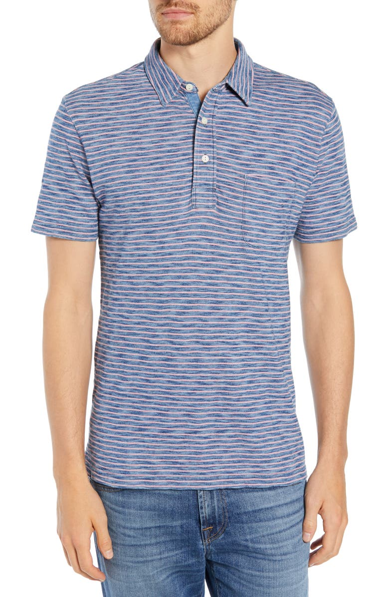 FAHERTY Feeder Stripe Jersey Polo, Main, color, BAYPOINT STRIPE