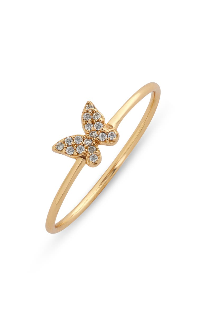ARGENTO VIVO STERLING SILVER Cubic Zirconia Butterfly Ring, Main, color, GOLD