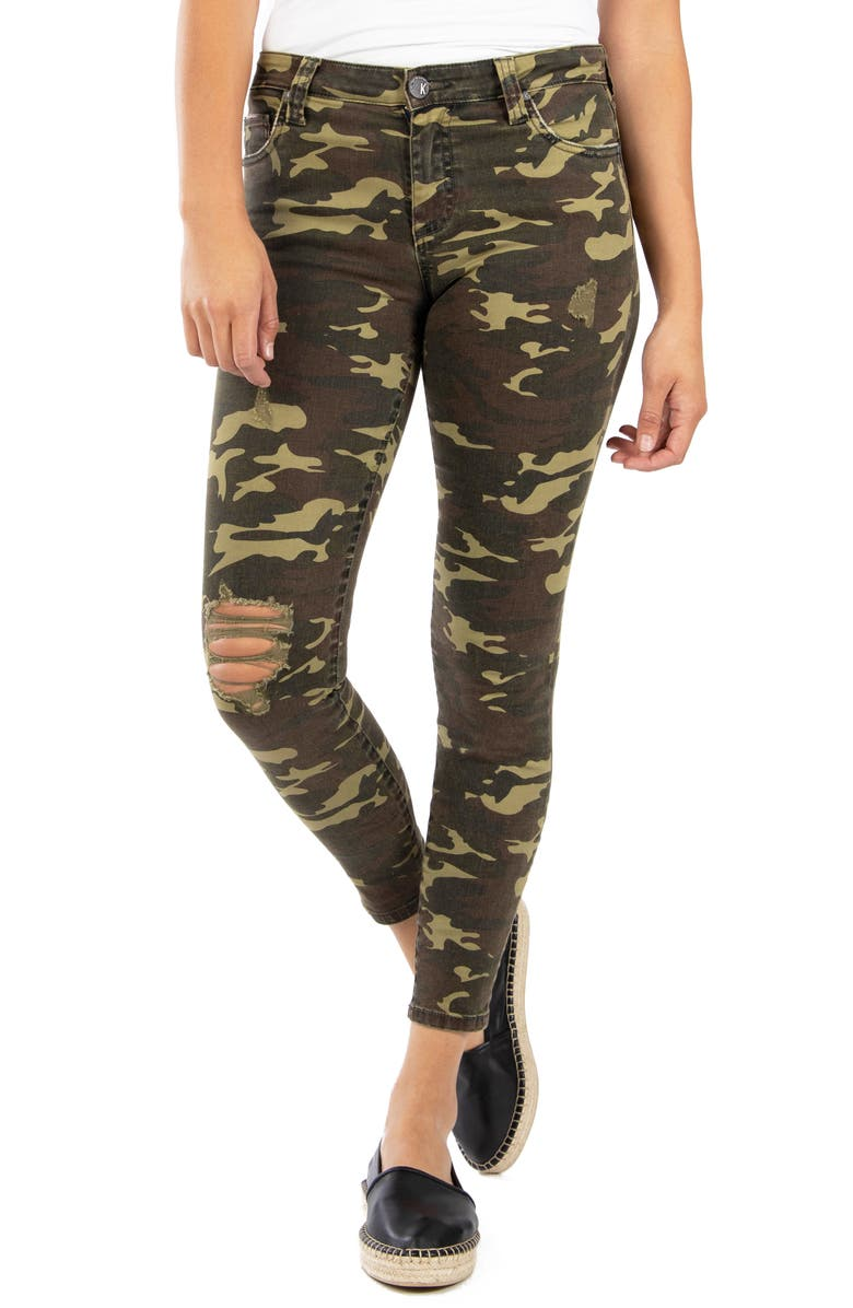 KUT FROM THE KLOTH Connie High Waist Ripped Ankle Skinny Camo Pants, Main, color, 317