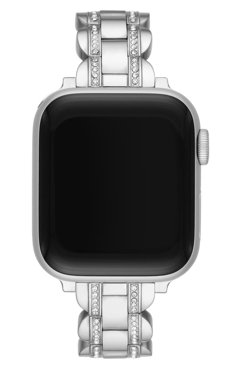 KATE SPADE NEW YORK pavé Apple Watch<sup>®</sup> bracelet, Main, color, SILVER