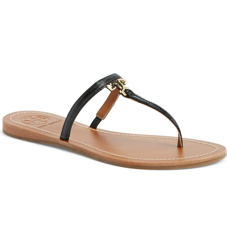 TORY BURCH 'T' Logo Leather Thong Sandal, Main, color, 001