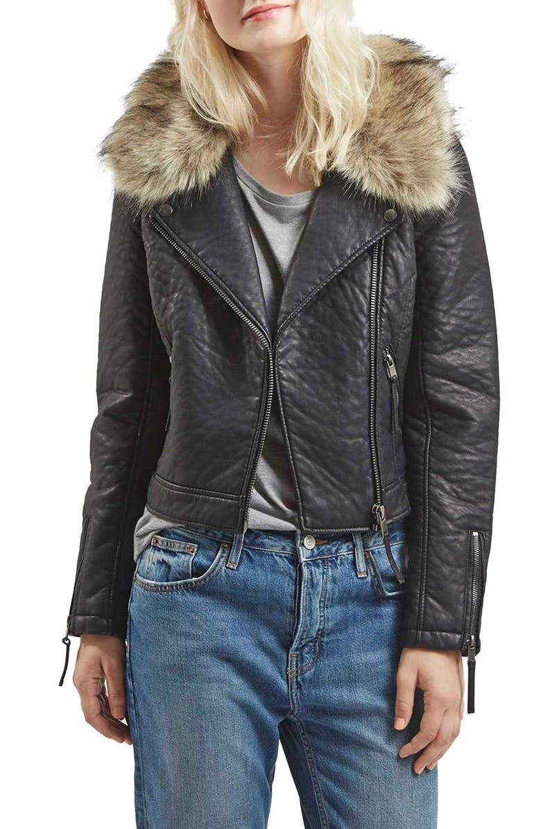 TOPSHOP FauxLeather MotoJacket with Removable FauxFur Collar, Main, color, Black