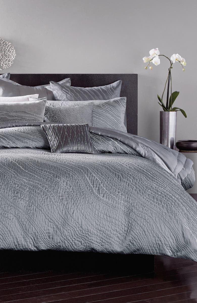 DONNA KARAN NEW YORK Current Duvet Cover, Main, color, GREY