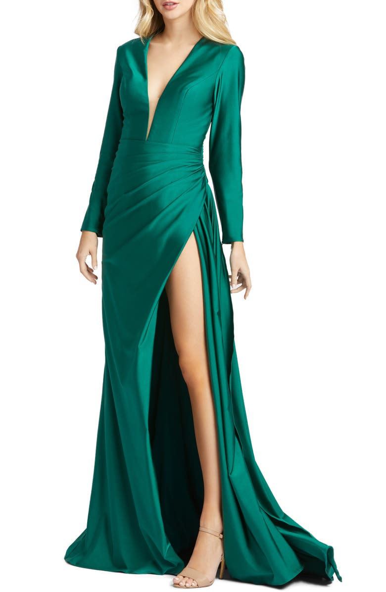 MAC DUGGAL Plunge Long Sleeve Satin Gown, Main, color, EMERALD GREEN