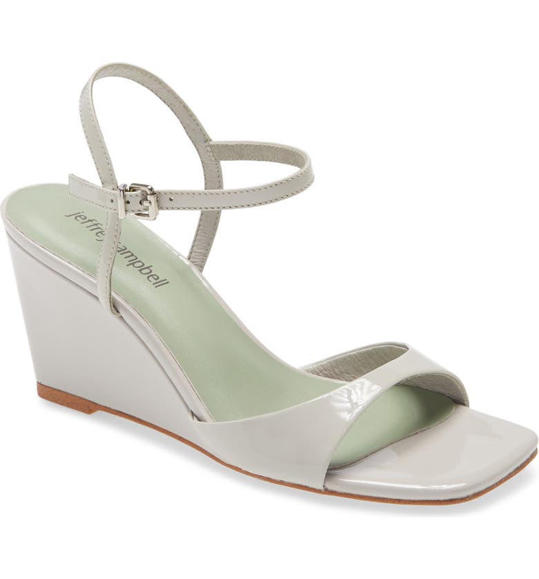 JEFFREY CAMPBELL Entree Ankle Strap Wedge Sandal, Main, color, GREY PATENT
