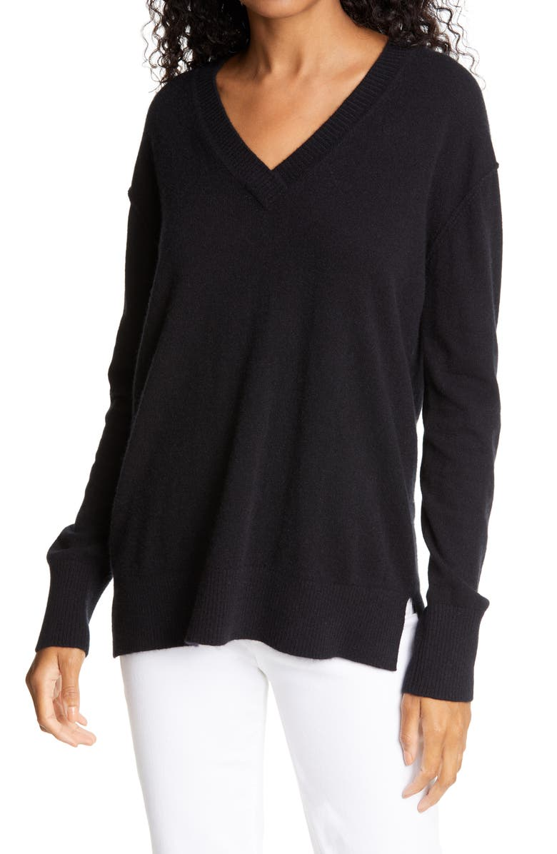 NORDSTROM SIGNATURE V-Neck Cashmere Sweater, Main, color, 001