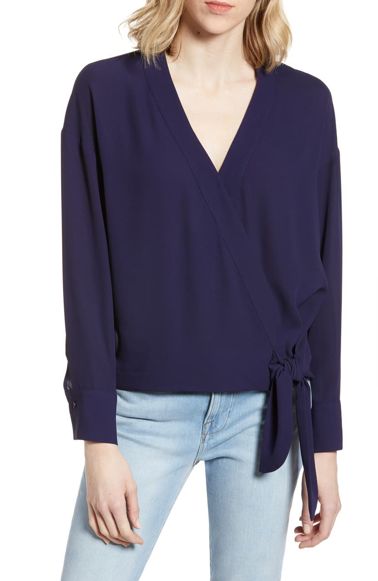 &.LAYERED Side Tie Surplice Blouse, Main, color, 410