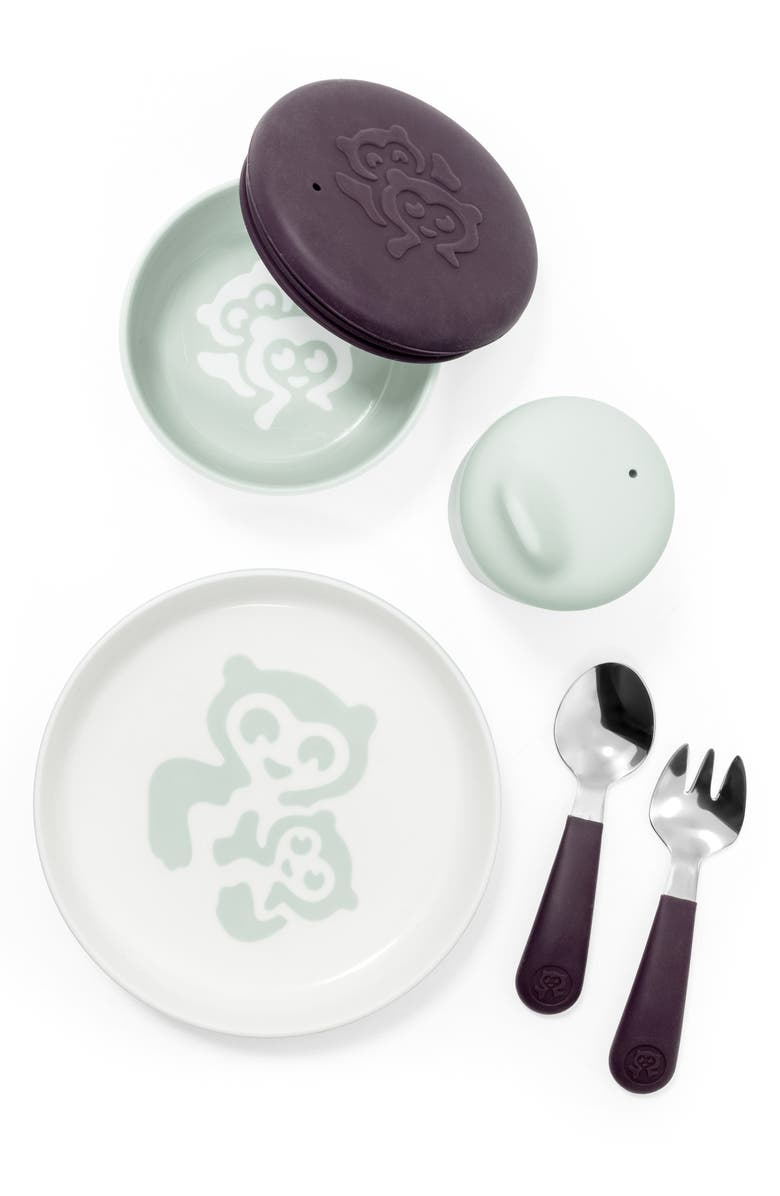 STOKKE Munch Complete Lidded Bowl, Sippy Cup, Plate, Fork & Spoon Set, Main, color, SOFT MINT