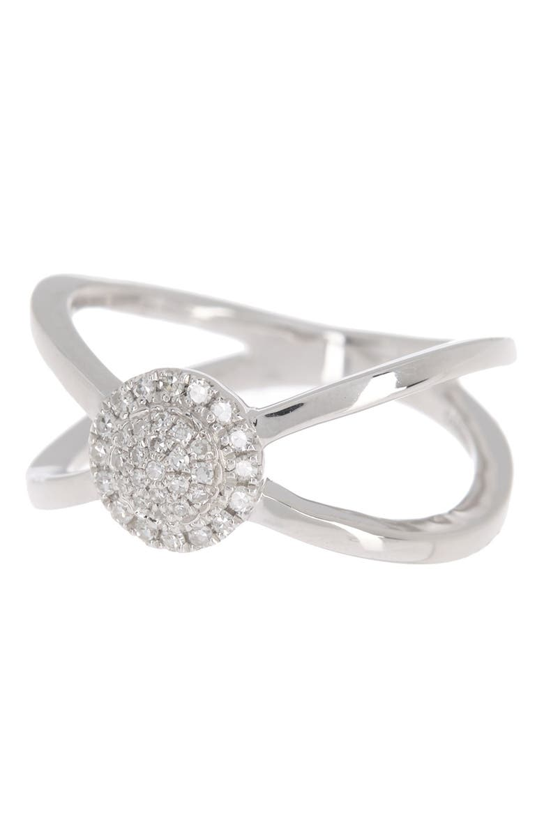 CARRIERE JEWELRY Sterling Silver Pave Diamond Circle Split Shank Ring - 0.14 ctw, Main, color, SILVER